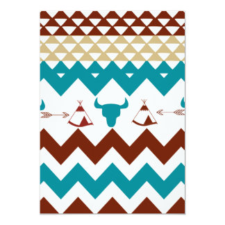 Native American Turquoise Red Chevron Tipi Skulls Card