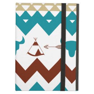Native American Turquoise Red Chevron Tipi Skulls iPad Cases