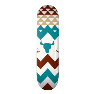 Native American Turquoise Red Chevron Tipi Skulls Skateboard Deck