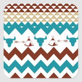 Native American Turquoise Red Chevron Tipi Skulls Stickers