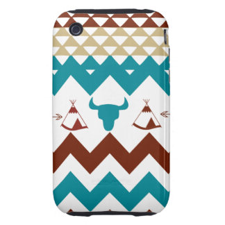 Native American Turquoise Red Chevron Tipi Skulls Tough iPhone 3 Case