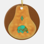Native American Turquoise Zuni Bear Double-Sided Ceramic Round Christmas Ornament