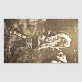 Native American Ute Sioux Vintage Rectangular Stickers