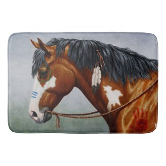 Native American War Horse Bath Mats