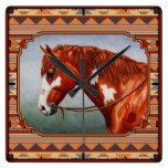 Native American War Horse Wall Clock