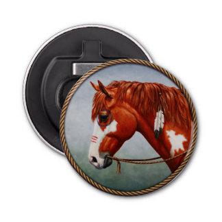 Native American War Horse Button Bottle Opener