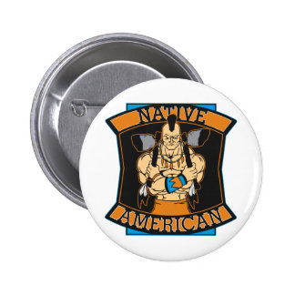 Native American Warrior 2 Inch Round Button