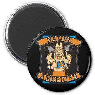 Native American Warrior 2 Inch Round Magnet