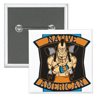 Native American Warrior 2 Inch Square Button