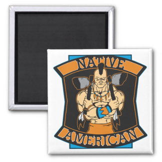 Native American Warrior 2 Inch Square Magnet