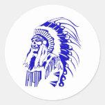 Native American Warrior #4 Classic Round Sticker