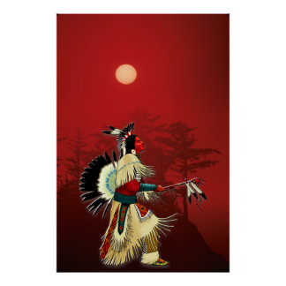 Native American Warrior at Sunset Poster