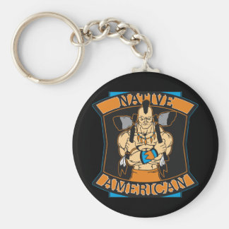 Native American Warrior Basic Round Button Keychain