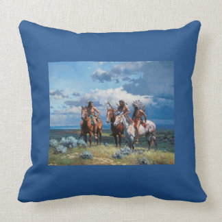 Native American Warrior Blue 20x20 Throw Pillow