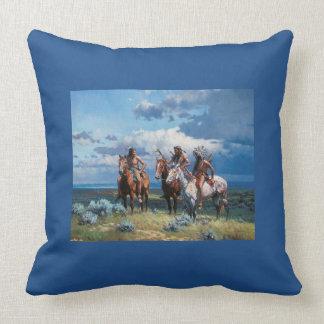 Native American Warrior Blue 20x20 Throw Pillow