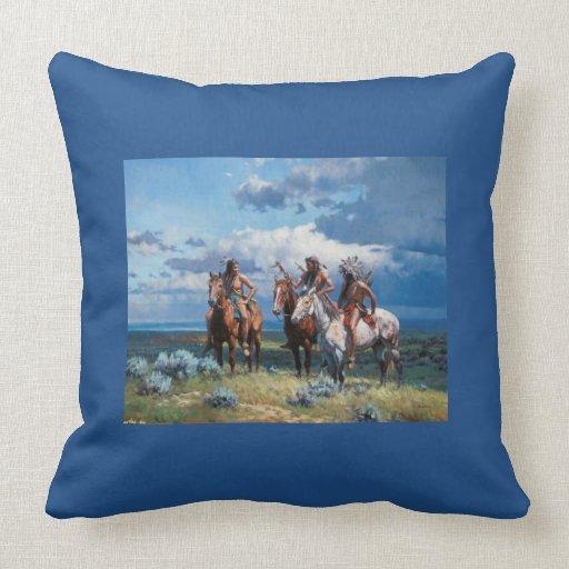 Blue Throw Pillow 20x20 : Native American Warrior Blue 20x20 Throw Pillow Zazzle