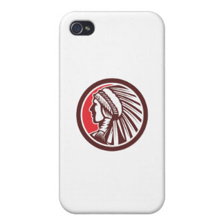 Native American Warrior Chief Circle iPhone 4 Covers
