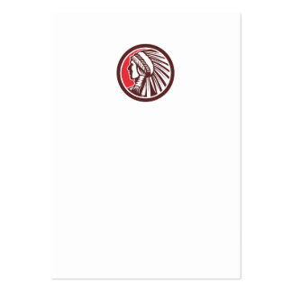 Native American Warrior Chief Circle Large Business Cards (Pack Of 100)