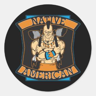 Native American Warrior Classic Round Sticker