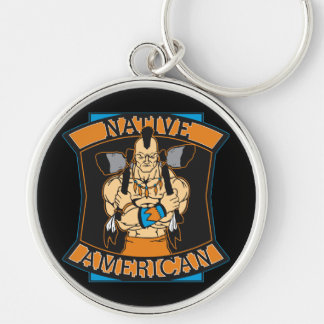 Native American Warrior Silver-Colored Round Keychain