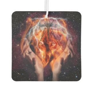 Native American Wolf and Tipi Car Air Freshener