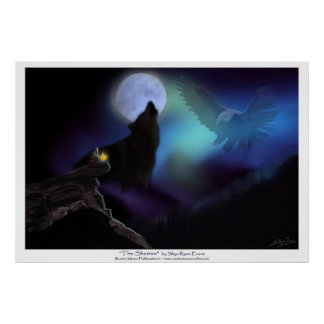 Native American, Wolf, Eagle & Moon Poster