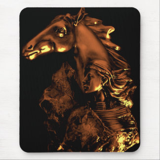 native american  woman and horse mouse pad