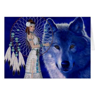 Native American Woman & Blue Wolf Design Greeting Card