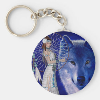 Native American Woman & Blue Wolf Design Keychain