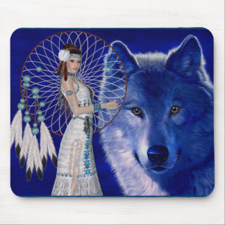 Native American Woman & Blue Wolf Design Mouse Pad