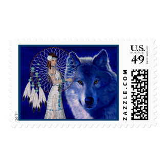 Native American Woman & Blue Wolf Design Stamps