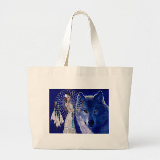 Native American Woman & Blue Wolf Design Tote Bags