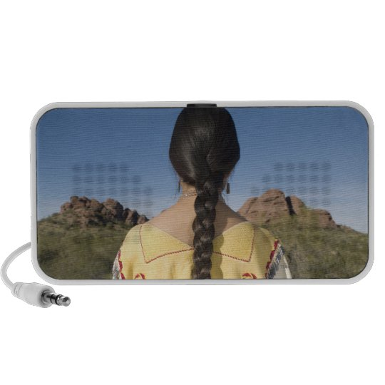 Native American woman in traditional clothing 2 Portable Speaker