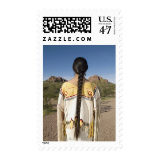 Native American woman in traditional clothing 2 Stamp