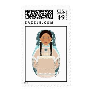 Native American Woman Matryoshka Stamps