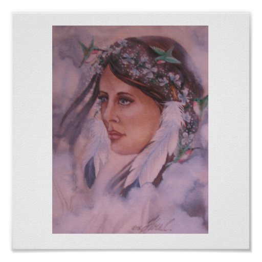 Native American woman with Humming birds Print