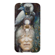 native american woman with owl and peacock case for galaxy s5