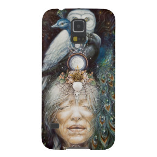 native american woman with owl and peacock galaxy s5 cover