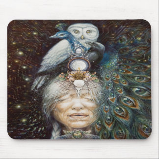 native american woman with owl and peacock mouse pads