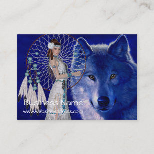 Wolf native american business cards templates zazzle native american woman wolf d2 business cards colourmoves