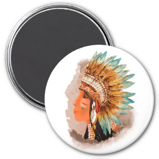 Native American Young Indian Shief Round Magnet