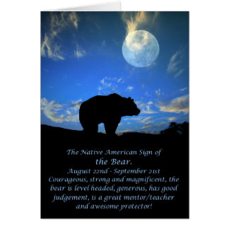 Native American Zodiac Sign of the Bear Card