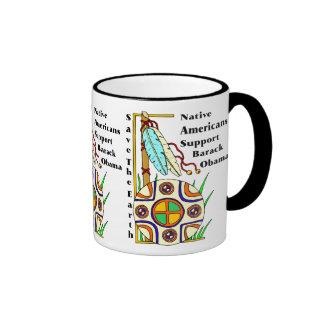 NATIVE AMERICANS SUPPORT OBAMA RINGER COFFEE MUG