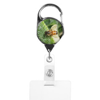 Native Bee Sipping Water Badge Holder
