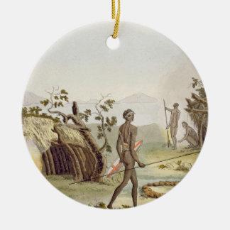 Native cabin, New Holland, plate 64 from 'Le Costu Ceramic Ornament