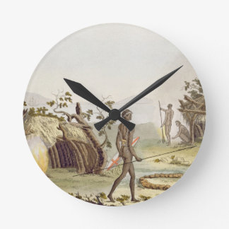Native cabin, New Holland, plate 64 from 'Le Costu Round Clock