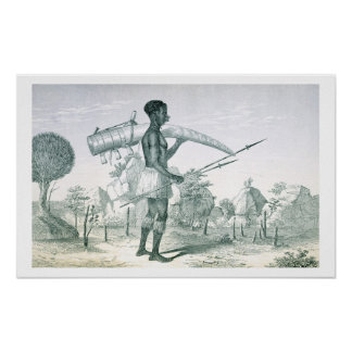 Native carrying a decorated ivory elephant tusk, f poster