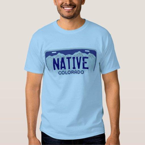 Native Colorado blue license plate guys tee