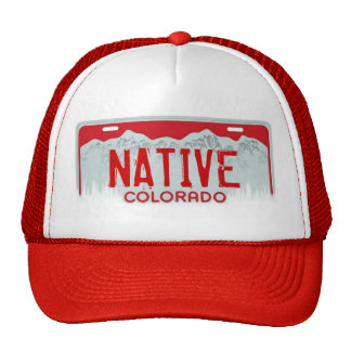 Native Colorado red license plate souvenir hat