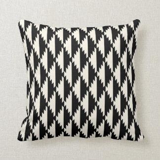 Native Diamond Tribal Pattern Black and Cream Throw Pillow